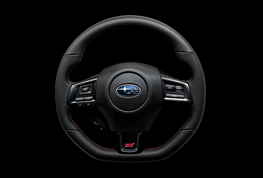 Dimpled Leather-wrapped D-shaped Steering Wheel with Red Stitching